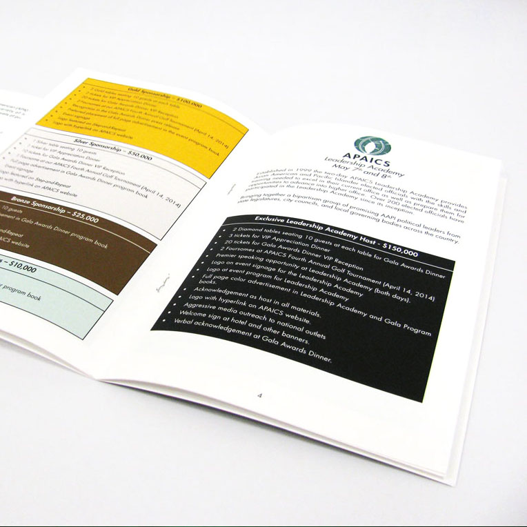 APAICS Gala Sponsorship Brochure With Custom Fold Out